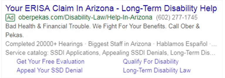 Law Firm Paid Search Text Ad on Desktop